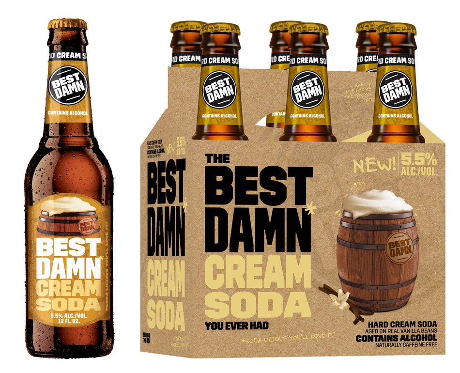 Hitting shelves nationwide starting March 6th, BEST DAMN Cream Soda is aged on real vanilla beans during the brewing process for a touch of sweetness.