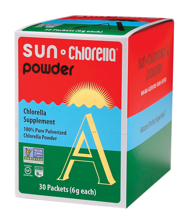 Introducing Sun Chlorella powder 30 individual serving (6g) packets.