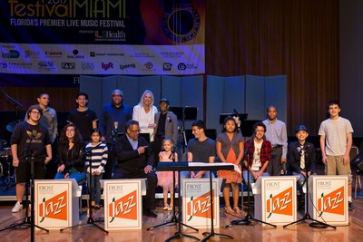 Canon Solutions America's Valerie Belli joins trumpeter Jon Faddis, saxophonist Jimmy Heath, drummer Ignacio Berroa and young musicians from the Frost School of Music's Shalala Music Reach Program on stage.
