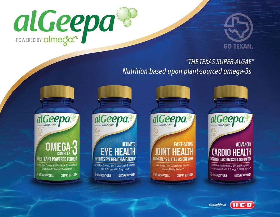 alGeepa, the vegan omega-3 supplement line, will be sold in H-E-B stores starting March 28, 2017.