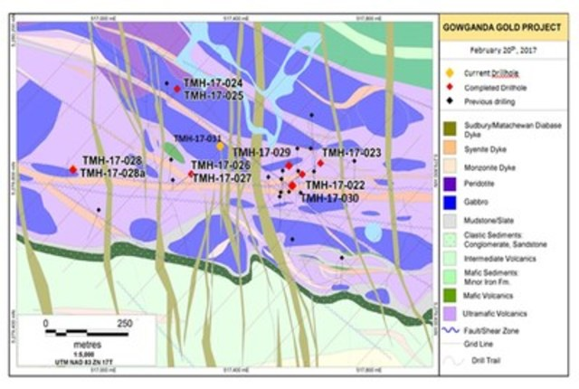 Figure 1. Drill hole Location Sketch and Geological Interpretation – Haultain Discovery Area, Gowganda Gold Project, Ontario (CNW Group/Transition Metals Corp.)