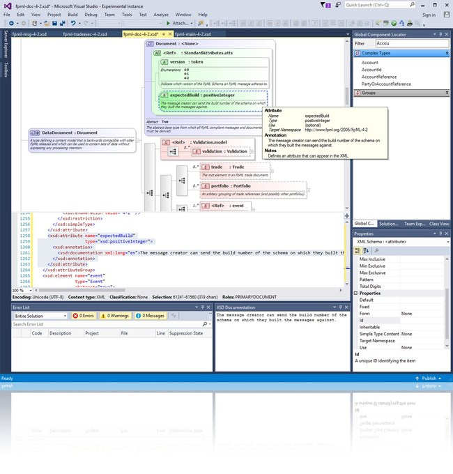 A graphical XSD editor, allowing you to visualize and edit your schemas. The editor provides an abstracted view of the XSD making it simple to understand your data. Context sensitive properties make using the more advanced features of the XSD standard simple, while drag and drop, cut & paste, and multi-step undo functionality makes editing your schema simple and intuitive.