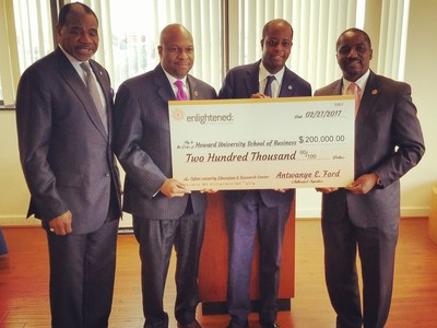From left to right: Dr. Barron Harvey, Dean Howard University School of Business, Antwanye Ford, President & CEO Enlightened, Inc. , Wayne A.I. Frederick, President Howard University, Andre Rogers, Executive Vice President & CFO, Enlightened, Inc.