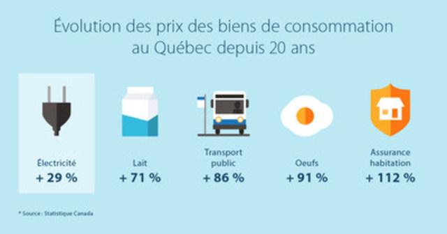 Évolution des prix des biens de consommation au Québec depuis 20 ans (Groupe CNW/Hydro-Québec)