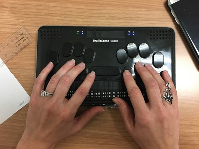 BrailleSense Polaris in use at an accounting office.