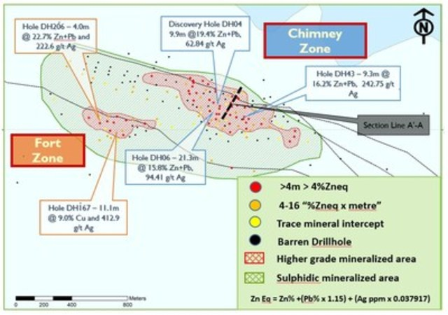 Figure 1:  Plan of the Kilbricken mineralized zone showing pierce points of drill holes through the mineralized position. (CNW Group/Hannan Metals Ltd.)