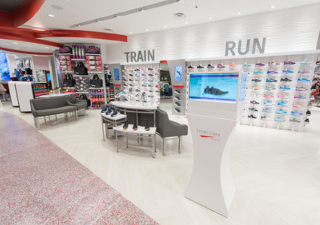 Centralized in the store, the footwear department boasts Sport Chek's largest women's-only footwear wall. (CNW Group/FGL Sports Ltd.)