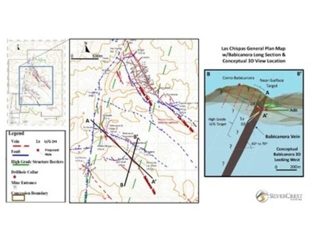SilverCrest Metals Inc. Las Chispas Property, Sonora, Mexico - Babicanora Map (CNW Group/SilverCrest Metals Inc.)