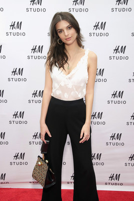 Model and Actress Emily Ratajkowski hosts the NYC launch event for the H&M Studio collection.
