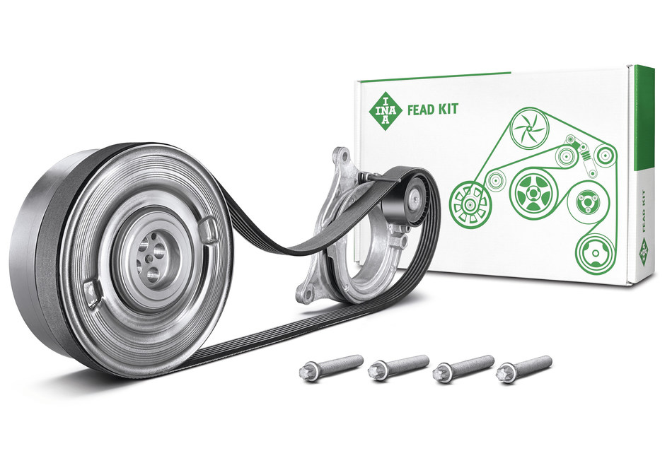 For the first time, Schaeffler is offering a repair solution with a pulley decoupler as part of its INA FEAD KIT. (PRNewsFoto/Schaeffler)