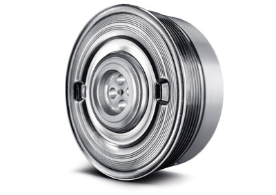 The INA pulley decoupler ensures vibration damping in the auxiliary drive. (PRNewsFoto/Schaeffler)