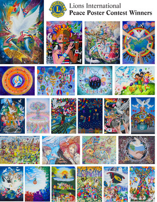 """Kids across the globe share their vision of world peace through the Lions International Peace Poster Contest. Mexican immigrant Karen Mendoza representing the U.S. from Reading, PA is one of 24 artists chosen from 600,000  entries worldwide for her hot air balloons piece, inspired by her parents who taught her that peace is the """"liberty to move freely.""""  Winners from around the world will exhibit in a pop-up art show at the World Trade Center Oculus Plaza Friday March 3 and the UN Sat March 4."""