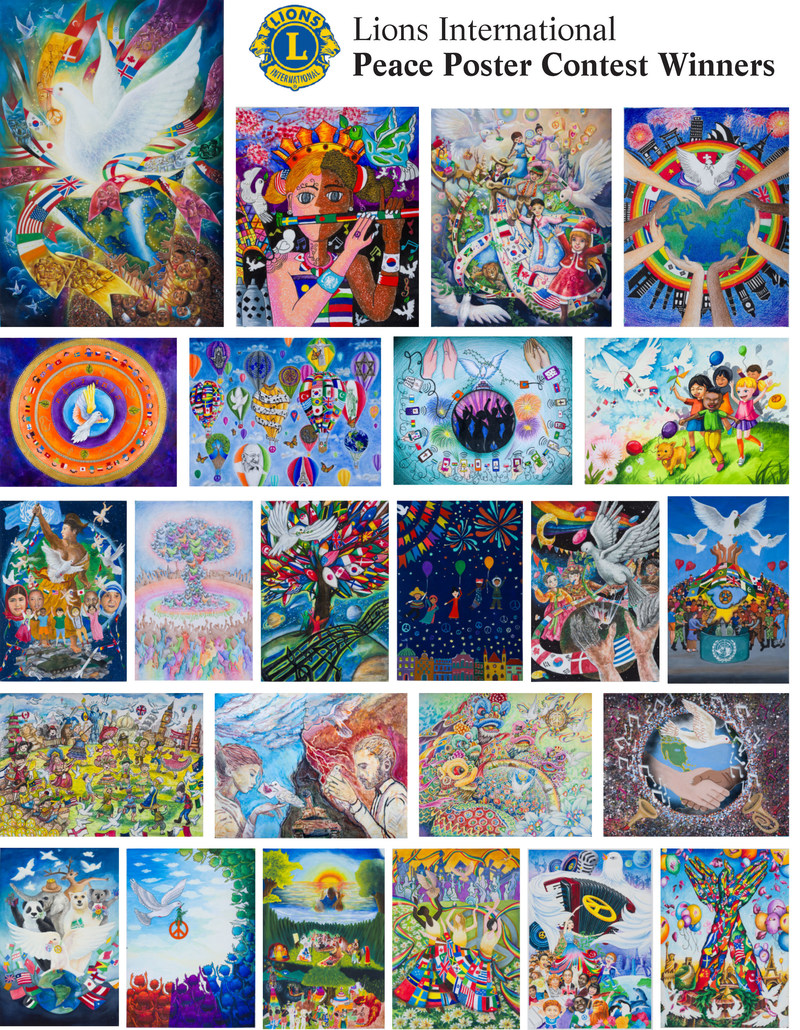 "Kids across the globe share their vision of world peace through the Lions International Peace Poster Contest. Mexican immigrant Karen Mendoza representing the U.S. from Reading, PA is one of 24 artists chosen from 600,000  entries worldwide for her hot air balloons piece, inspired by her parents who taught her that peace is the ""liberty to move freely.""  Winners from around the world will exhibit in a pop-up art show at the World Trade Center Oculus Plaza Friday March 3 and the UN Sat March 4."