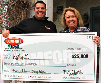 Comfort Windows $25,000 Ultimate Home Makeover winner Kathy Schwab (L) along with from Fritz Gentile (R), Co-Owner of Comfort Windows.