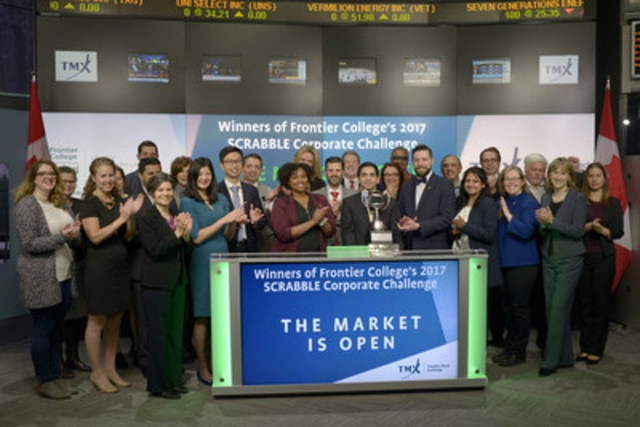 Stephen Faul, President & CEO, Frontier College, and CIBC, the winners of Frontier College's 2017 SCRABBLE® Corporate Challenge joined Eric Sinclair, President, TMX Datalinx and Group Head of Information Services, TMX Group to open the market. The 13th annual Scrabble Corporate Challenge presented by TMX Group on March 1, attracted senior executives from Canada's banks, investment, technology, accounting, and law firms to the one-night, no spellcheck Scrabble Competition in support of Frontier College. Frontier College provides literacy programs for children, youth, and adults, through a network of volunteers. Since 2005, the Scrabble Corporate Challenge has raised $3.2 million dollars for Frontier College. For more information, please visit www.frontiercollege.ca (CNW Group/TMX Group Limited)