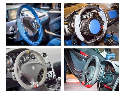 Steering wheels shown (clockwise from top left) are BMW i3, Pagani HuayraBC, Peugeot RCZ (Racing Cup Replica) and McLaren 570S.