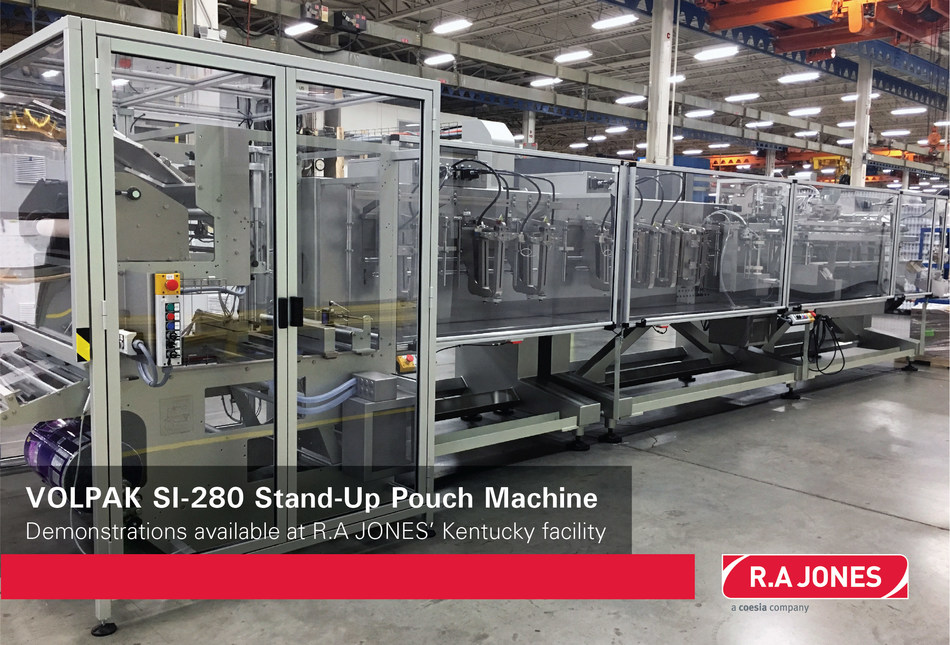 VOLPAK's SI-280 Horizontal Form-Fill-Seal machine on the shop floor at R.A JONES in Covington, KY. Now available for customer pouching capability demonstrations and/or delivery.