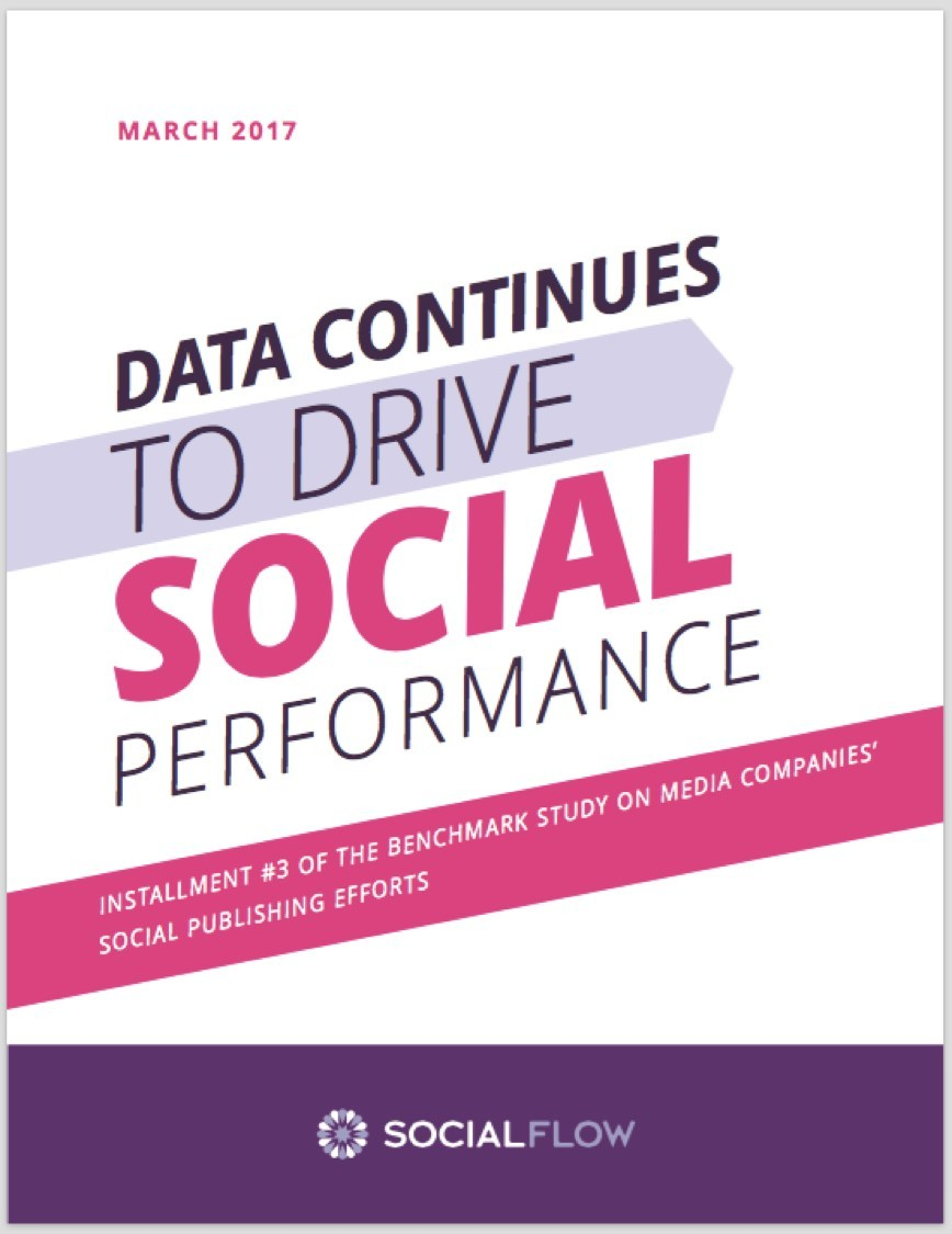 SocialFlow Benchmark Report 2016:Data Continues to Drive Social Performance. The report examines the overall health of media companies' content on the social platforms, how these companies are monetizing their social efforts and how video usage is impacting content strategy. Download the report: http://www.socialflow.com/white-paper-data-continues-to-drive-social-performance-2016/