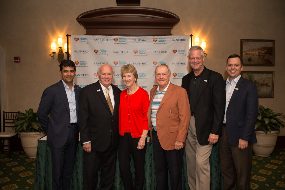 Photo Caption from L to R: Dr. Narendra Kini, CEO of Miami Children's Health System; Denny Sanford, Philanthropist; Barbara and Jack Nicklaus, Co-Founders of the Nicklaus Children's Health Care Foundation; Kelby Krabbenhoft, President and CEO of Sanford Health; Nate White, Chief Operating Officer of Sanford Health.