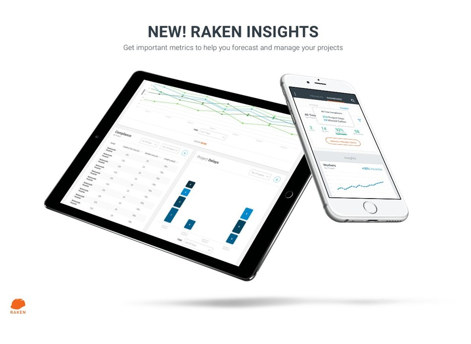 Raken web and mobile apps are built to provide never before seen project visibility and save time spent performing reporting and compliance activities associated with construction projects.