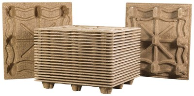 Nested molded wood pallets from Litco stack in minimal space
