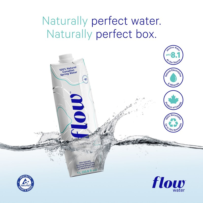 Flow water. Naturally perfect water. Naturally perfect box.