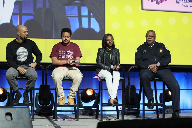 (L to R) Grammy and Oscar winner Common, Houston Keystone Teen Kivin Gant; Washington, D.C. Keystone Teen Erikah Moore; and Chicago Police Department Deputy Chief of Community Relations Eric Washington led a discussion with 2,500 teens attending the Keystone Conference, sponsored by Boys & Girls Clubs of America and Aaron's, Inc., and share ideas on how teens can engage in meaningful conversations with local leaders including law enforcement officials.