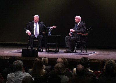 General Colin L. Powell and Steve Israel, Chairman of the Global Institute at Long Island University and former U.S. Congressman, discuss international relations at the Global Institute's inaugural event on March 2, 2017 at Tilles Center for the Performing Arts at LIU Post.