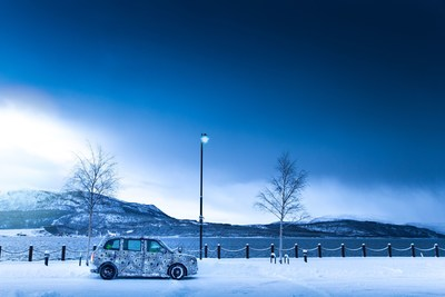 The all-new electric London Taxi in the lower reaches of the Arctic Circle in Norway, taking part in extreme cold climate testing to ensure the highest levels of quality, reliability and usability for demanding taxi usage cycles before launch later this year.