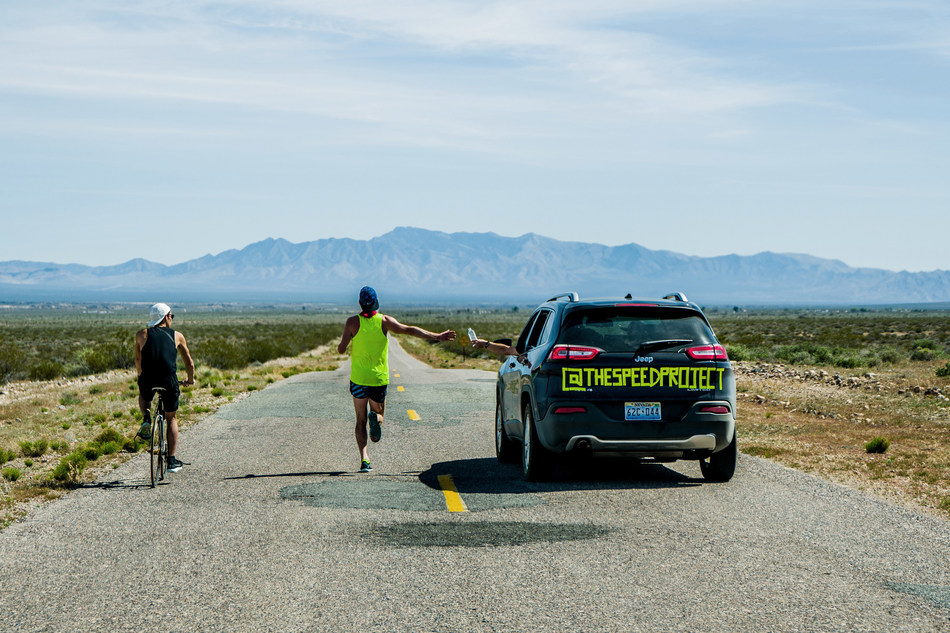 Sean Watson, a Speed Project participant, crosses Death Valley during last year's race.