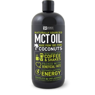 """Sports Research Non-GMO Project Verified MCT Oil is derived from only Organic Coconuts and contains the full spectrum of Medium-chain triglycerides, including Lauric Acid. MCTs are """"healthy fats"""" with an unusual chemical structure that allows the body to digest them easily for use as quick energy. Naturally unflavored to satisfy sensitive taste buds and easy to mix in any drink or coffee for sustained natural energy. Vegan and Paleo diet-friendly."""