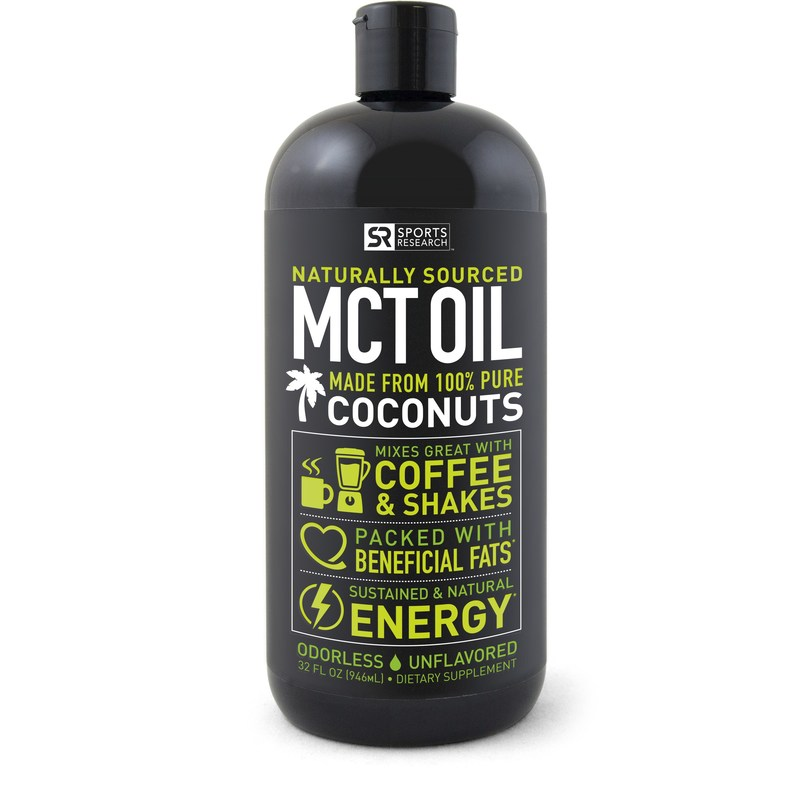 "Sports Research Non-GMO Project Verified MCT Oil is derived from only Organic Coconuts and contains the full spectrum of Medium-chain triglycerides, including Lauric Acid. MCTs are ""healthy fats"" with an unusual chemical structure that allows the body to digest them easily for use as quick energy. Naturally unflavored to satisfy sensitive taste buds and easy to mix in any drink or coffee for sustained natural energy. Vegan and Paleo diet-friendly."