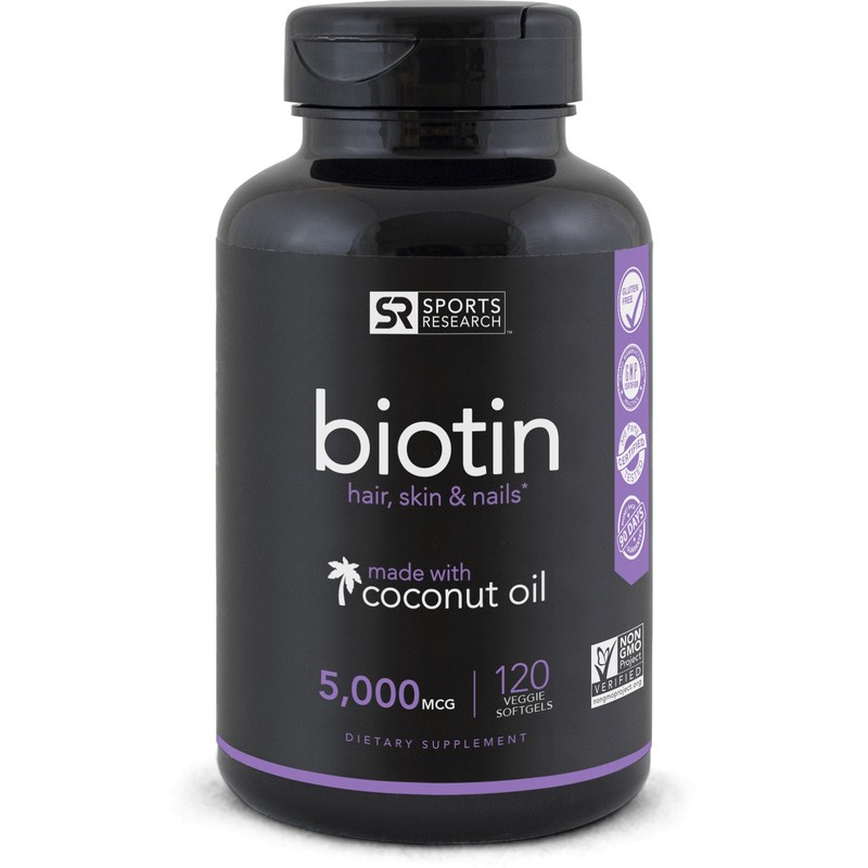 Sports Research Non-GMO Project Verified Biotin with Organic Coconut Oil supports healthy skin, hair and nails. Biotin is a B vitamin necessary for cell growth and the metabolism of amino acids and fats. The company is the first to offer Non-GMO Project Verified softgels.