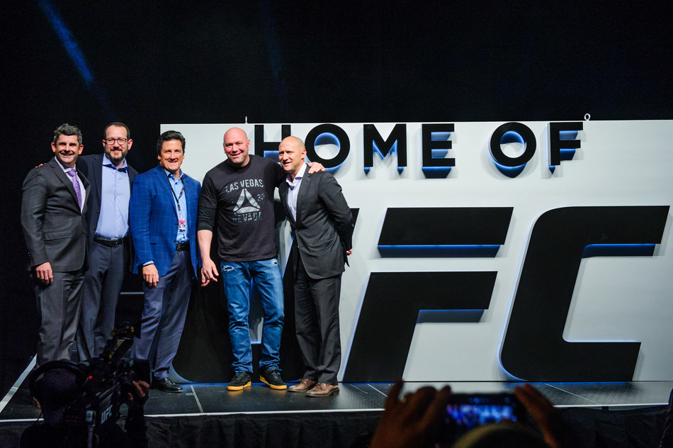 T-Mobile Arena Becomes the Las Vegas Home to UFC. (L-R) Rick Arpin, Senior Vice President of Entertainment and Development for MGM Resorts International; Dan Beckerman, President & CEO, AEG; Bill Hornbuckle, President of MGM Resorts International; Dana White, President, UFC; and Todd Goldstein, Chief Revenue Officer, AEG.