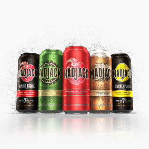 Mad Jack Launches Suckerpunch Strong Lemon and Hard Core Strong Apple Lagers. Both flavours are rolling out in select stores across the country. (CNW Group/Molson Coors Canada)