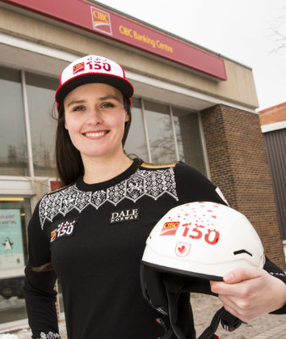 CIBC presented Canadian Ski Cross champion and Olympic gold medallist Marielle Thompson with a new CIBC race helmet after officially welcoming her as a CIBC 150 ambassador, at the Collingwood CIBC Banking Centre. Thompson will help the bank celebrate its shared 150th anniversary with Canada this year. (CNW Group/CIBC)