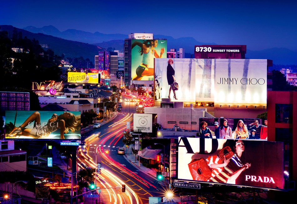 The iconic Sunset Strip, a ribbon of color through West Hollywood, California, is still home to music, entertainment and posh hotels.
