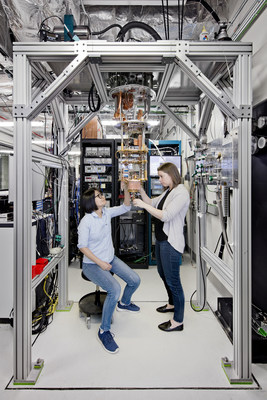 IBM Scientists Hanhee Paik (left) and Sarah Sheldon (right) examine quantum computing hardware in the IBM Q Lab at IBM's T. J. Watson Research Center in Yorktown, NY. On March 6, IBM announced that it will build commercially available universal quantum computing systems. IBM Q quantum systems and services will be delivered via the IBM Cloud platform and will be designed to tackle problems that are too complex and exponential in nature for classical computers to handle.