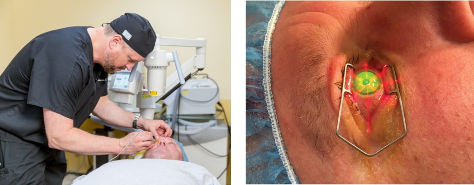 Dr. Brad Randleman of USC Roski Eye Institute performs first FDA-approved CXL treatment on patient in Los Angeles. CXL is new treatment for those with keratoconus, a progressive eye disease, that uses ultraviolet irradiation and riboflavin eye drops to stabilize the cornea.