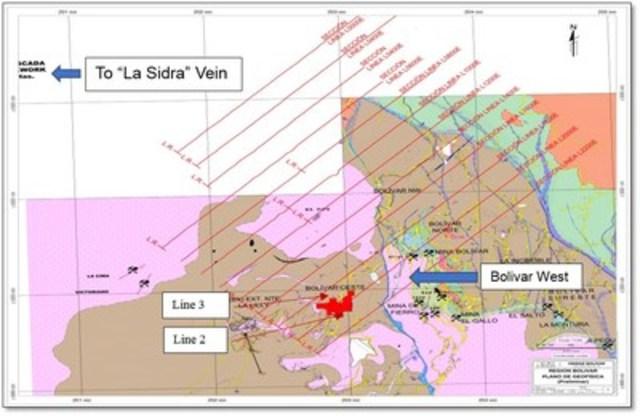 Figure 3. - Plan View of Bolivar West Titan 24 IP Survey Lines (CNW Group/Sierra Metals Inc.)