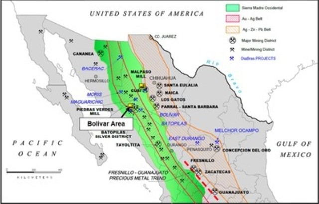 Figure 5. – Overview of Location of Bolivar mine relative to other important mines in Mexico (CNW Group/Sierra Metals Inc.)