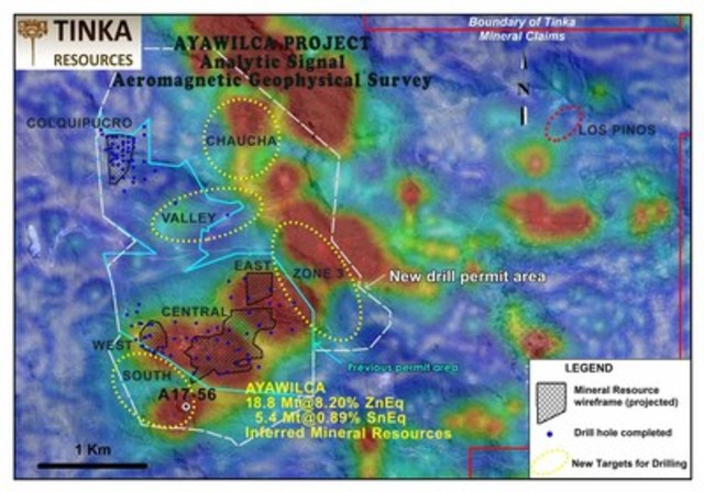 Figure 1.   Airborne magnetics showing priority targets for the 2017 drill program at Ayawilca (CNW Group/Tinka Resources Limited)