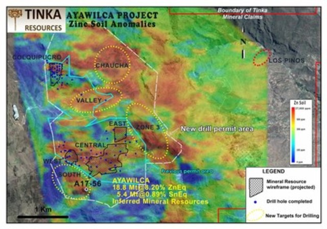 Figure 2.   Zinc-in-soils with 2017 priority targets at Ayawilca showing collar location of A17-56 (CNW Group/Tinka Resources Limited)