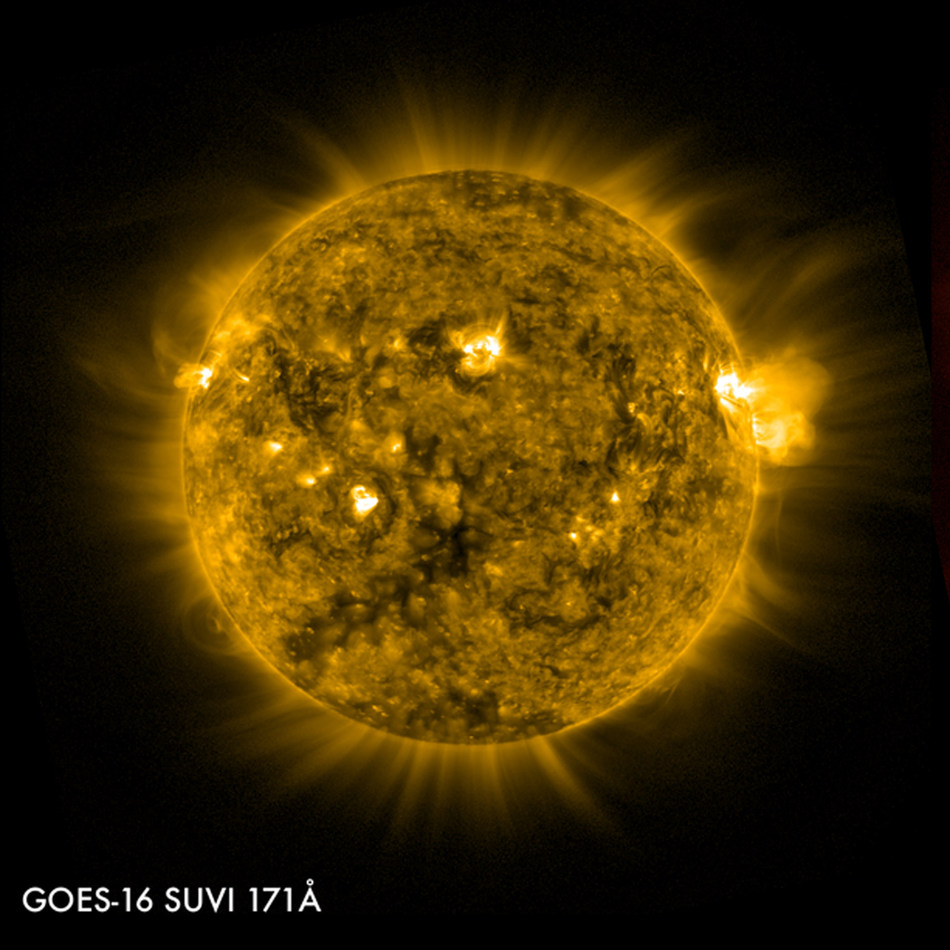 The Solar Ultraviolet Imager, built by Lockheed Martin, now delivers the fastest warning time of solar storms, which can knock out satellites in orbit and power grids on Earth. (Image courtesy of NOAA)
