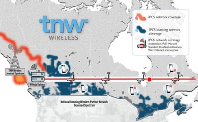 Diagram of TNW Wireless Home Public Mobile Network Extension Technology (CNW Group/Investel Capital Corporation)