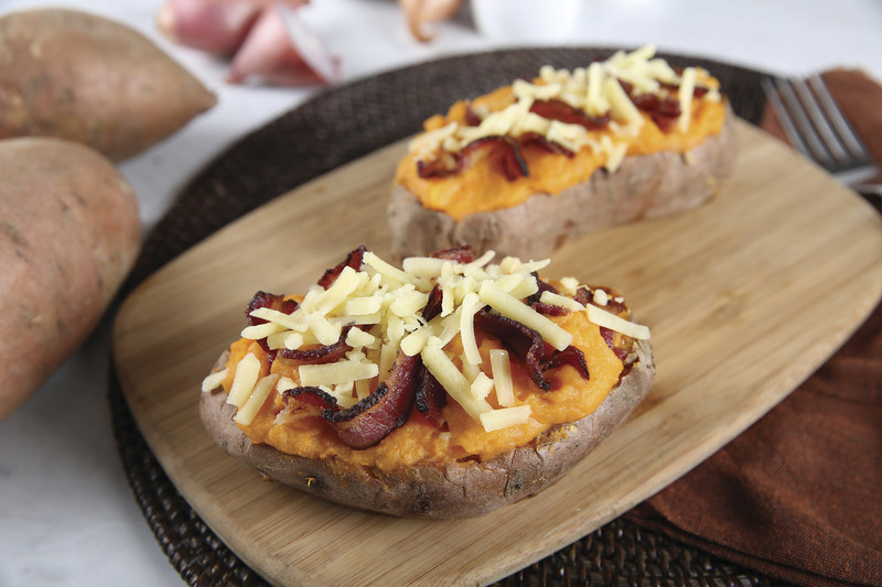 Twice-Baked Sweet and Savory Potatoes. Photo Courtesy of Premier Protein (PRNewsFoto/Family Features Editorial)