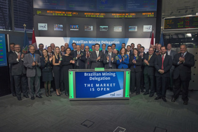 H.E. Fernando Coelho Filho, Brazilian Minister of Mines and Energy, joined Nick Thadaney, President and CEO, Global Equity Capital Markets, TMX Group to open the market. Currently, there are 30 mining companies in Brazil with 99 properties, who are listed on Toronto Stock Exchange and TSX Venture Exchange. These companies raised $1.1 billion in equity capital in 2016. (CNW Group/TMX Group Limited)