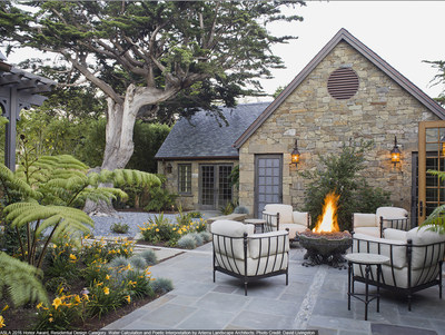 This sustainable residential garden features design elements based on J.R.R. Tolkien's Middle Earth, including a handcrafted fire pit in a courtyard. ASLA 2016 Honor Award, Residential Design Category. Water Calculation and Poetic Interpretation by Arterra Landscape Architects. Photo Credit: David Livingston.
