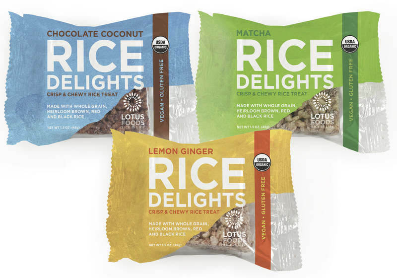 """Lotus Foods introduces Organic Rice Delights, a better-for-you version of beloved marshmallow rice treats. Lemon Ginger, Chocolate Coconut, and Matcha Mint are the flavors of these """"delightful"""" crispy, vegan and gluten-free rice treats made with organic brown, red and black rice and sweetened with organic coconut nectar. An excellent source of fiber with 6 grams per serving, the rice is sourced from family farms using More Crop Per Drop(TM) water-saving and women-friendly farming practices."""