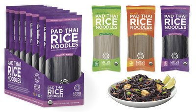 Lotus Foods, the leading rice company focusing on heirloom and sustainable rice production, introduces new Organic Pad Thai Rice Noodles, the first pad Thai noodle to be made with organic, heirloom and whole grain black and brown rice for a boost in flavor and nutrition. Varieties include: Traditional, black Forbidden(R) and Brown Rice. Ready in only 5 minutes, these versatile noodles are great in other Asian dishes, noodle soups, or as a gluten-free pasta substitute.
